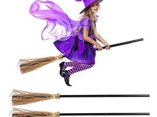 2PCS Witch Broom 3 Section Witch Broom Costume Accessories Halloween Decor Halloween Costume Props Decoration