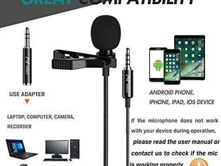 PoP voice Professional lavalier lapel Microphone Omnidirectional Condenser Mic for iPhone Android Smartphone Recording Mic for Youtube Interview Video  Renewed