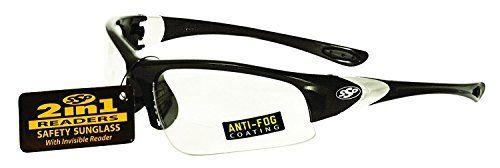 SSP Eyewear 1 25 Bifocal Reader Safety Glasses with Black Frames   Clear Anti Fog lenses  ENTIAT 125 BlK Cl A F