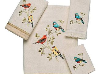 Avanti linens Gilded Birds Embroidered 4 Piece Decorative Towel Set Ivory
