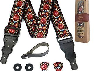 Guitar Strap Embroidered Red Vintage Woven W FREE BONUS  2 Picks   Strap locks   Strap Button  Stocking Stuffer For Bass  Electric   Acoustic Guitars Best Christmas Gift for Men   Women Guitarists