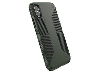Speck Products Compatible Phone Case for Apple iPhone Xs iPhone X Presidio Grip Case  Dusty Green Brunswick Black  117124 7276