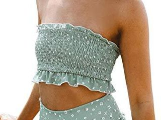 ZESICA Women s Summer Floral Printed High Waist Ruched Smocked Beach Bikini Sets Swimsuit Bathing Suit Mint