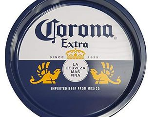 The Tin Box Company Corona large Round Beverage Tray  Blue and White