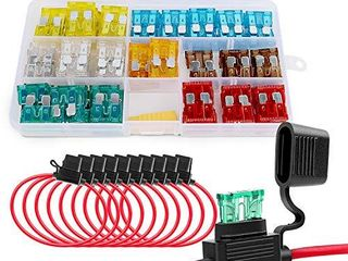 Nilight   50029R 120 Pcs Standard Blade Fuse 5A 7 5A 10A 15A 20A 25A 30A AMP Assorted Set with 10 Pack 14AWG ATC ATO Inline Fuse Holder