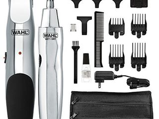 WAHl 5622 Groomsman Rechargeable Beard  Mustache  Hair   Nose Hair Trimmer for Detailing   Grooming  Black