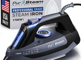 Professional Grade 1700W Steam Iron for Clothes with Rapid Even Heat Scratch Resistant Stainless Steel Sole Plate  True Position Axial Aligned Steam Holes  Self Cleaning Function