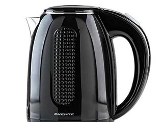 Ovente Portable Electric Kettle 1 7 liter  Double Wall Insulated Stainless Steel BPA Free Countertop Tea Maker Hot Water Boiler with Fast Heating Element Auto Shut Off Boil Dry Protection  Black KD64B