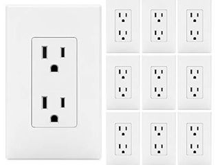 10 Pack  BESTTEN 15A Decor Wall Receptacle  Standard Electrical Wall Outlet  Decorator Screwless Wallplate Included  Ul listed  White