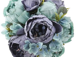 Flojery Silk Peony Bouquet Vintage Artificial Peonies Flower for Home Wedding Party Decor  1pcs  Blue