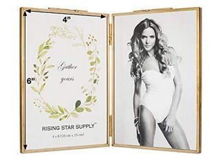 Rising Star Brass Frame  Double 4x6 Folding Picture Frames  Gold Metal Pressed Glass Photo Frame