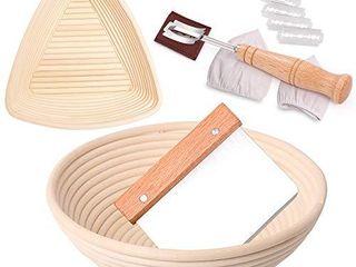 2 Set Proofing Basket  2 Shapes Sourdough Proofing Basket  9 Inch Triangle   10 Inch Round Bread Proofing Basket   Bread lame   Dough Scraper   linen liner  Sourdough Kit for Professional Home Baker