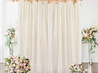 Champagne Tulle Backdrop Curtain for Wedding Bridal Shower Baby Shower Parties Photography 5ft x 7ft White Drape Curtains for Backdrop