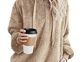 onlypuff Sherpa Pullover Women Sweater Fleece Fuzzy Warm Top with Pockets Khaki l