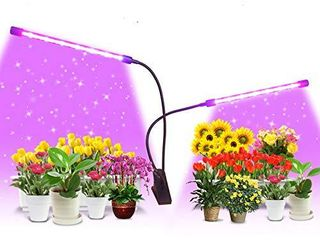 Grow lights 40W Dual Head Plant Grow lamp lights Full Spectrum Growing lights for Indoor Plant with 9 Dimmable level   3 9 12H Timer Plant Grow lights Bulb Plant lamp