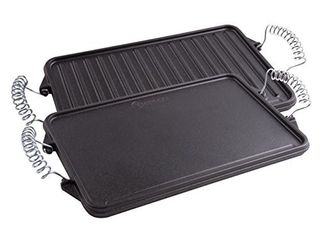 Victoria Cast Iron Grill  Double Burner Griddle  with Removable Wire Handles Seasoned with 100  Kosher Certified Non GMO Flaxseed Oil  13 x 8 Inches  Black