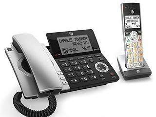 AT T Cl84107 DECT 6 0 Expandable Corded Cordless Phone with Smart Call Blocker  Black Silver with 1 Handset