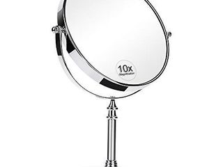 KEDSUM 8 Inch large Double Sided 1X 10X Magnifying Makeup Mirror  360 Degree Swivel Vanity Mirror with Magnification  Travel Mirror with Stand and Removable Base
