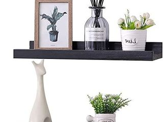 KlGO 16 Inch Wall Mounted Floating Shelves Set of 2 Hanging Wall Shelves Decoration Rustic Wall Mounted Picture Frames ledge Shelf for Bathroom  Bedroom  living Room and Kitchen Black