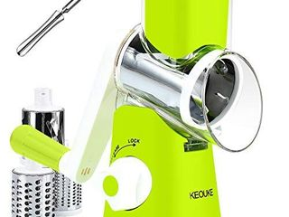 KEOUKE Manual Rotary Cheese Grater   Veggie Slicer Shredder Nuts Grinder with a Stainless Steel peeler  Green