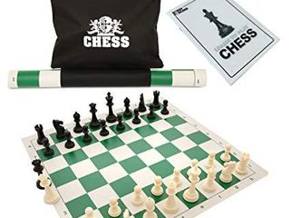 WE Games Best Value Tournament Chess Set w  a Green Roll Up Vinyl Board  Plastic Pieces   Bag