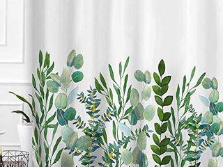 Baccessor Botanical Shower Curtain Green leaf Watercolor Floral Plant Pattern Decorative Bath Curtain Waterproof Fabric Bathroom Curtain with Hooks  60  x 72   Eucalyptus leaf 1