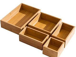 5 Piece Bamboo Drawer Organizer Set  luxury Wooden Desk Storage Box Kit  Multi use Junk Drawer Organizer for Office  Kitchen  Bedroom  Children Room  Craft  Sewing