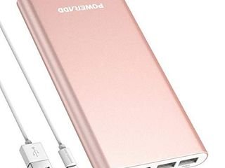 POWERADD Pilot 4GS 12000mAh 8 Pin Input Portable Charger External Battery Pack with 3A High Speed Output Compatible with iPhone  iPad  iPod and More   Rose Gold  8 Pin Cable Include