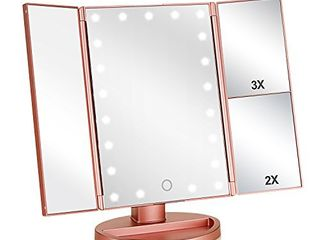 Flymiro Tri fold lighted Vanity Makeup Mirror with 3x 2x Magnification 21 lEDs light and Touch Screen 180 Degree Free Rotation Countertop Cosmetic Mirror Travel Makeup Mirror  Rose Gold