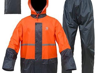 RainRider Rain Suits for Men Women Waterproof lightweight Rain Gear Jacket Coat with Pants Workwear  large  Orange Grey