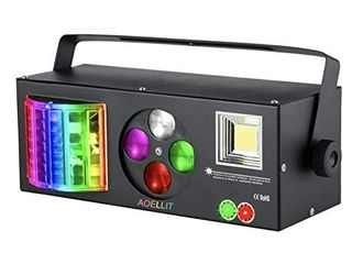 DJ lights Sound Activated RGBW AOEllIT Strobe Party Disco lights with Remote  4 in 1 Multi effects Pattern Projector lights Compatible with DMX 512 for Home Dance Wedding Event Party