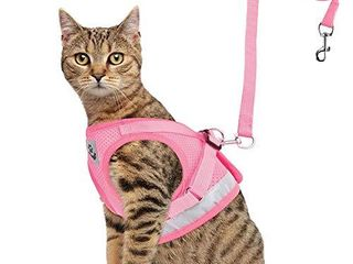 GAUTERF Cat Harnesses and Puppy Harness with leashes Set  Escape Proof Cat Harness  Adjustable Reflective Soft Mesh Corduroy Vest Fit Puppy Kitten Rabbit Ferrets s Outdoor Harness