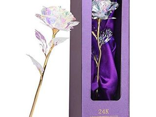 Rainbow Rose Flower Present Golden Foil with luxury Gift Box Great Gift Idea for Valentine s Day  Mother s Day  Thanksgiving Day  Christmas  Birthday  Anniversary