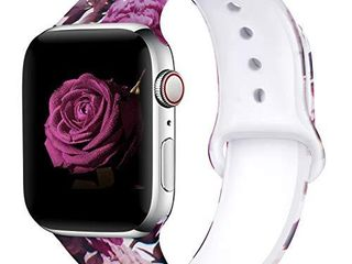 EXCHAR Compatible with Apple Watch Band 40mm 38mm Fadeless Pattern Printed Floral Bands Silicone Replacement Band for iWatch Series 4 Series 3 2 1 for Women Men M l Flower J13