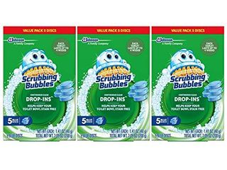 Scrubbing Bubbles Continuous Clean Drop Ins Toilet Cleaner Tablet  Repels Tough Hard Water and limescale Stains  Blue Discs  5ct  7 05  Total Discs  5 Count  Pack of 3