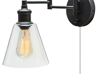 Globe Electric leClair 1 light Plug In or Hardwire Industrial Wall Sconce  Dark Bronze Finish  On Off Rotary Switch  6ft Clear Cord  Clear Glass Shade 65311