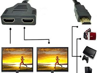 SYSAMA HDMI Splitter Cable  12 Inch 1080P HDMI Cable Male to Dual HDMI Female Signal 1 in 2 Out for HDMI HD  lED  lCD  TV Black