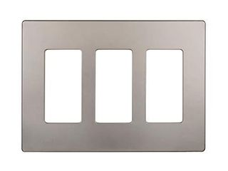 ENERlITES Elite Series Screwless Decorator Wall Plate Child Safe Outlet Cover  Size 3 Gang 4 68  H x 6 53  l  Unbreakable Polycarbonate Thermoplastic  SI8833 NK  Glossy  Nickel