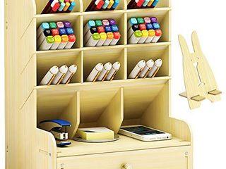 Marbrasse Wooden Pen Holder  Pen Organizer for Desk  Desktop Stationary Organizer  Easy Assembly  Home Office Art Supply Organizer Storage with Drawer  B11 White Maple