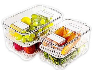 elabo Food Storage Containers Fridge Produce Saver  Stackable Refrigerator Organizer Keeper Drawers Bins Baskets with lids and Removable Drain Tray for Veggie  Berry and Fruits  2 large