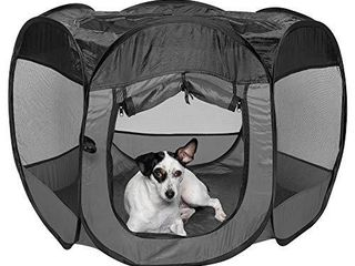 Furhaven Pet Playpen   Indoor Outdoor Mesh Open Air Playpen and Exercise Pen Tent House Playground for Dogs and Cats  Gray  Medium