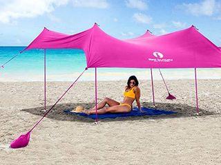 Red Suricata Family Beach Sunshade   Sun Shade Canopy   UPF50 UV Protection   Tent with 4 Aluminum Poles  4 Pole Anchors  4 Sandbag Anchors   large   Portable Shelter Tarp