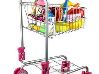 Precious Toys Kids   Toddler Pretend Play Shopping Cart with Groceries