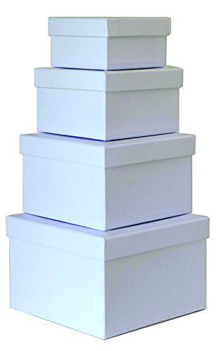 Cypress lane Square Rigid Gift Boxes  a Nested Set of 4  3 5x3 5x2 to 6x6x4 inches  White