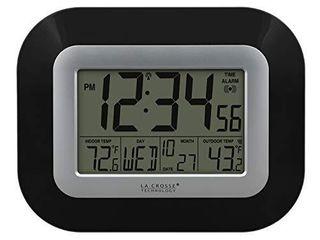 la Crosse Technology WS 8115U B Atomic Digital Wall Clock with Indoor and Outdoor Temperature  Black