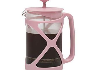 Primula Tempo French Press Premium Filtration with No Grounds  Heat Resistant Borosilicate Glass  Cotton Candy Pink  24 oz
