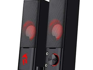 Redragon GS550 Orpheus PC Gaming Speakers  2 0 Channel Stereo Desktop Computer Sound Bar with Compact Maneuverable Size  Headphone Jack  Quality Bass and Decent Red Backlit  USB Powered w  3 5mm Cable