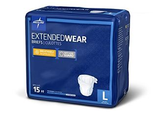 Medline   MTB80500Z Extended Wear Overnight Adult Briefs with Tabs  Maximum Highest Absorbency Adult Diapers  large  15 Count