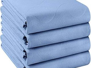 Utopia Bedding Waterproof Incontinence Underpads 34  x 52   Pack of 4    Washable and Reusable Bed Pads   Quilted and Absorbent Protector Pads for Adults and Kids  Blue