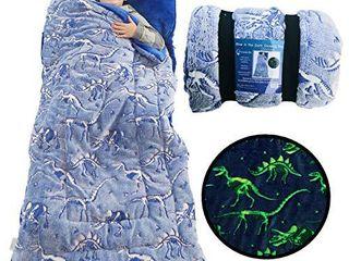 Dinosaur Sleeping Bag Glow in The Dark Dino Slumber Bag for Boys   Plush Glowing T Rex Nap Mat for Kids  luminescent Blue large 66in x 30in Warm Durable Sleeping Blanket Pad for Girls   Dinosaur Gift